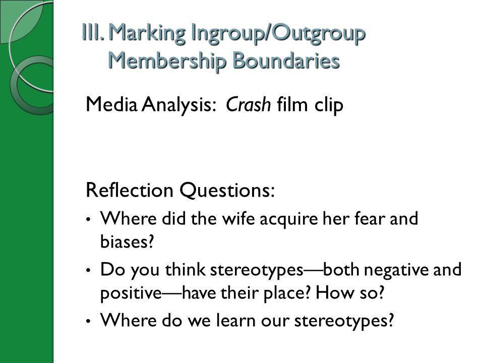 III. Marking Ingroup/Outgroup Membership Boundaries