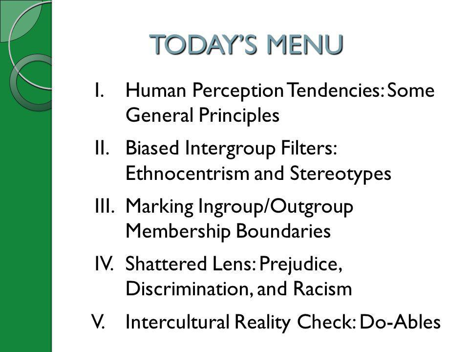 TODAY'S MENU I. Human Perception Tendencies: Some General Principles