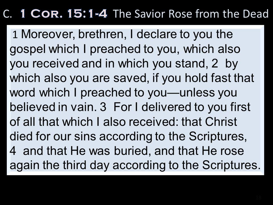 C. 1 Cor. 15:1-4 The Savior Rose from the Dead