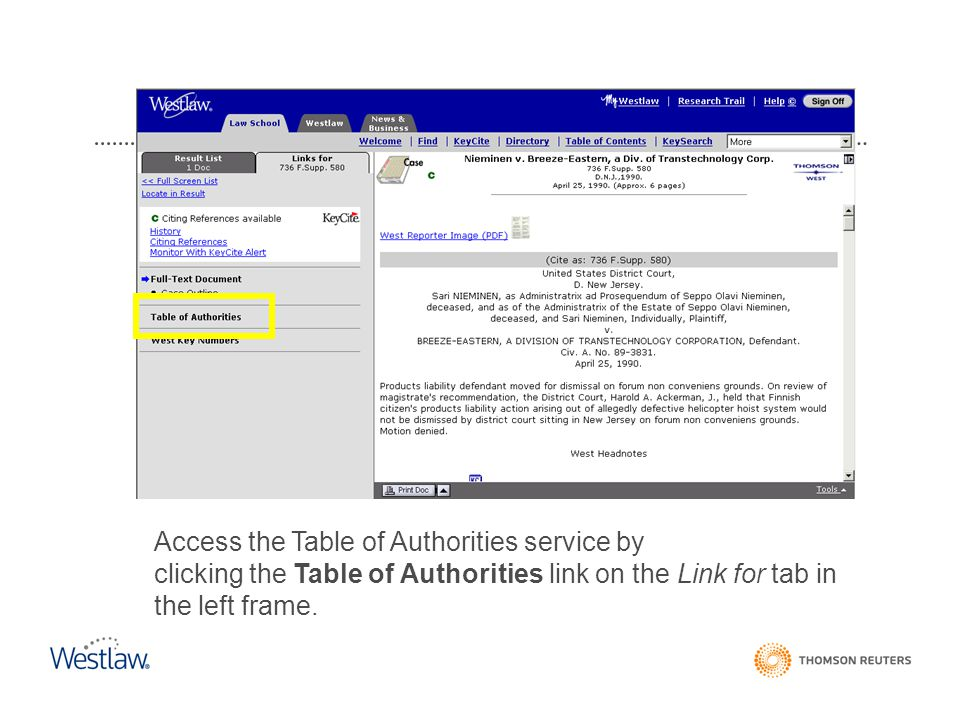 Access the Table of Authorities service by