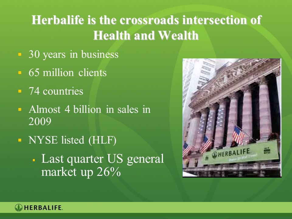 Herbalife is the crossroads intersection of Health and Wealth