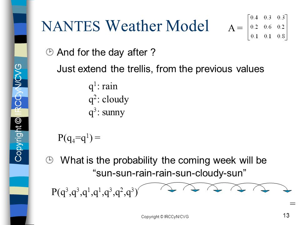 NANTES Weather Model Just extend the trellis, from the previous values