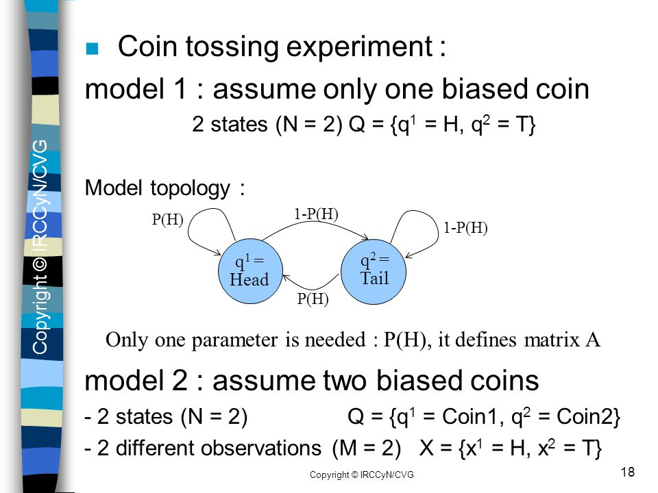 Coin tossing experiment : model 1 : assume only one biased coin