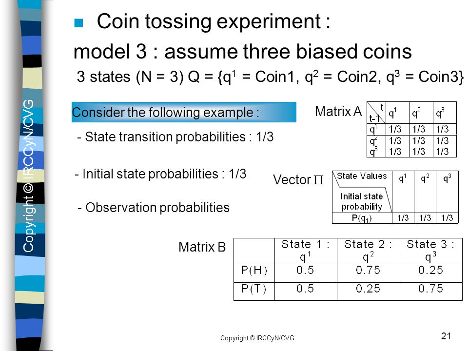 Coin tossing experiment : model 3 : assume three biased coins