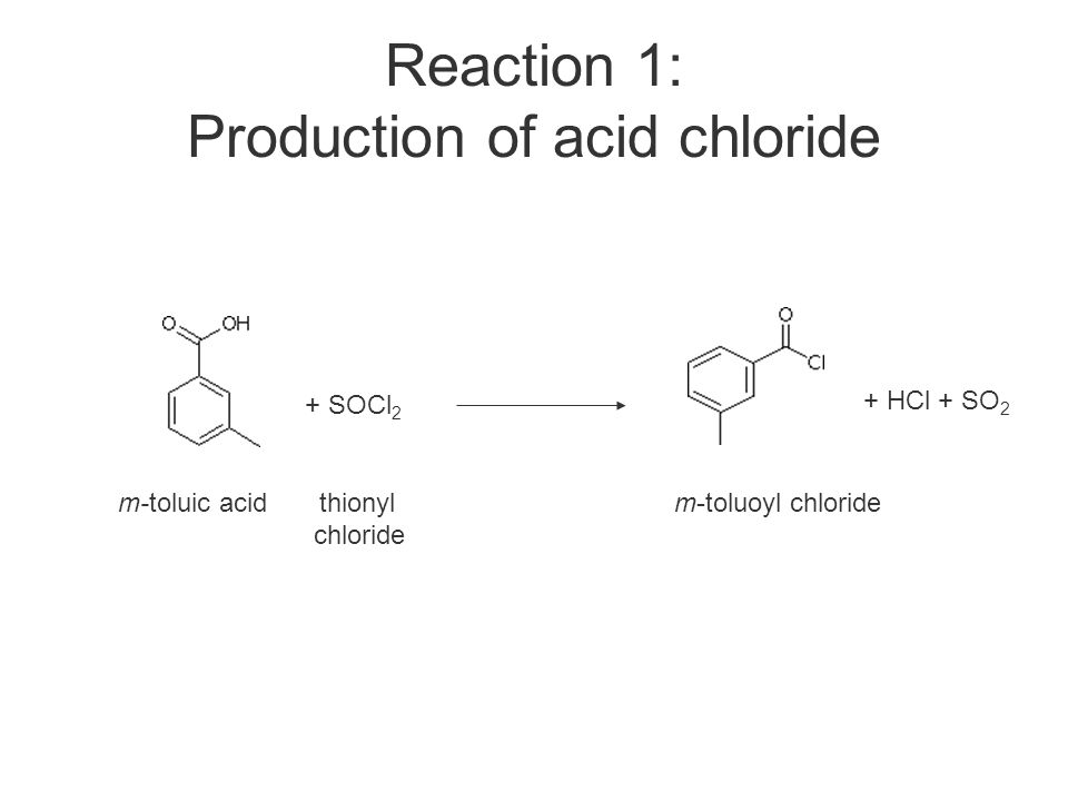 Reaction 1: Production of acid chloride