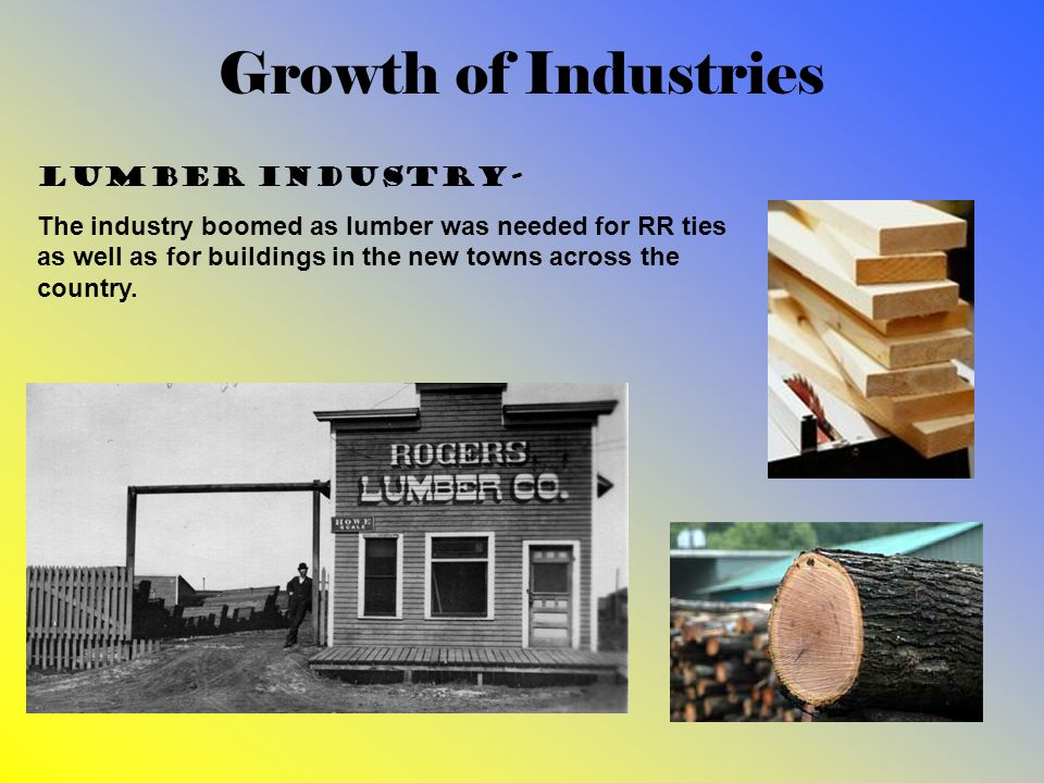 Growth of Industries Lumber industry-