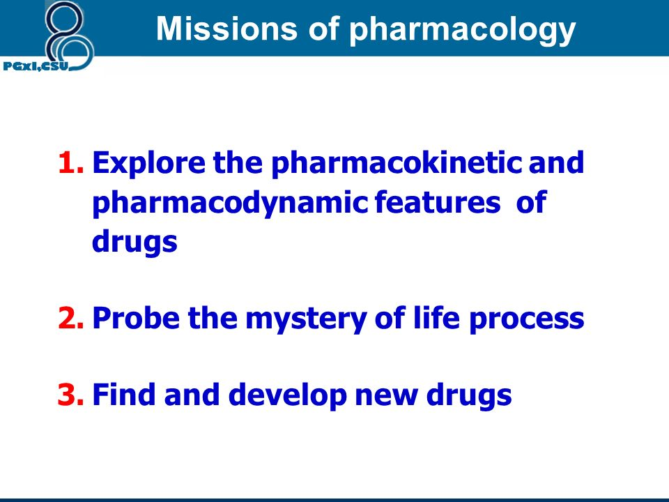 Missions of pharmacology