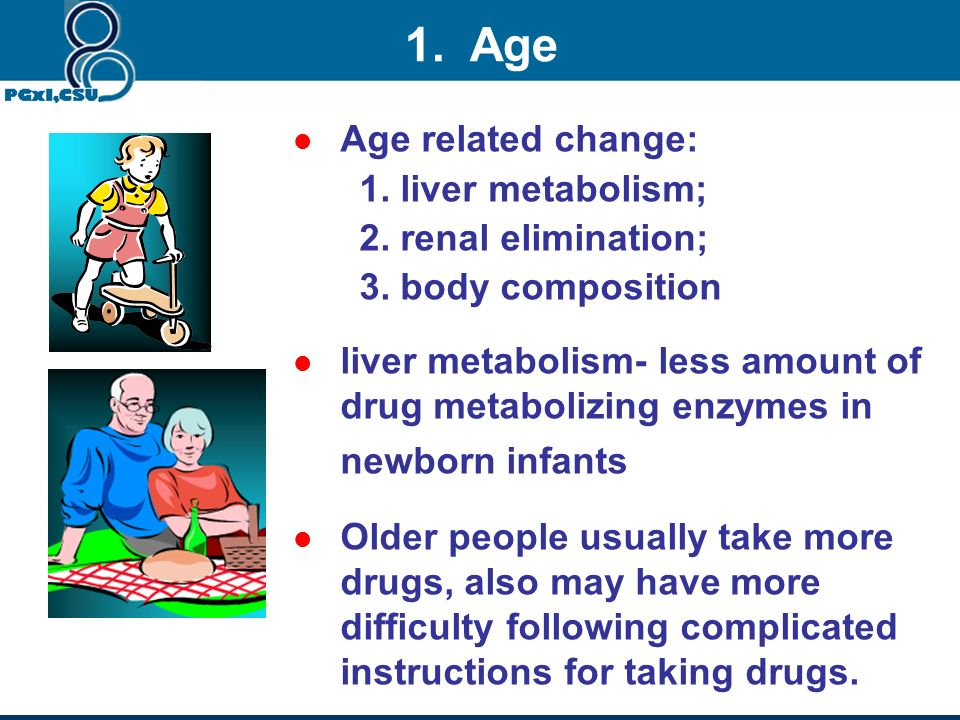 1. Age Age related change: 1. liver metabolism; 2. renal elimination;