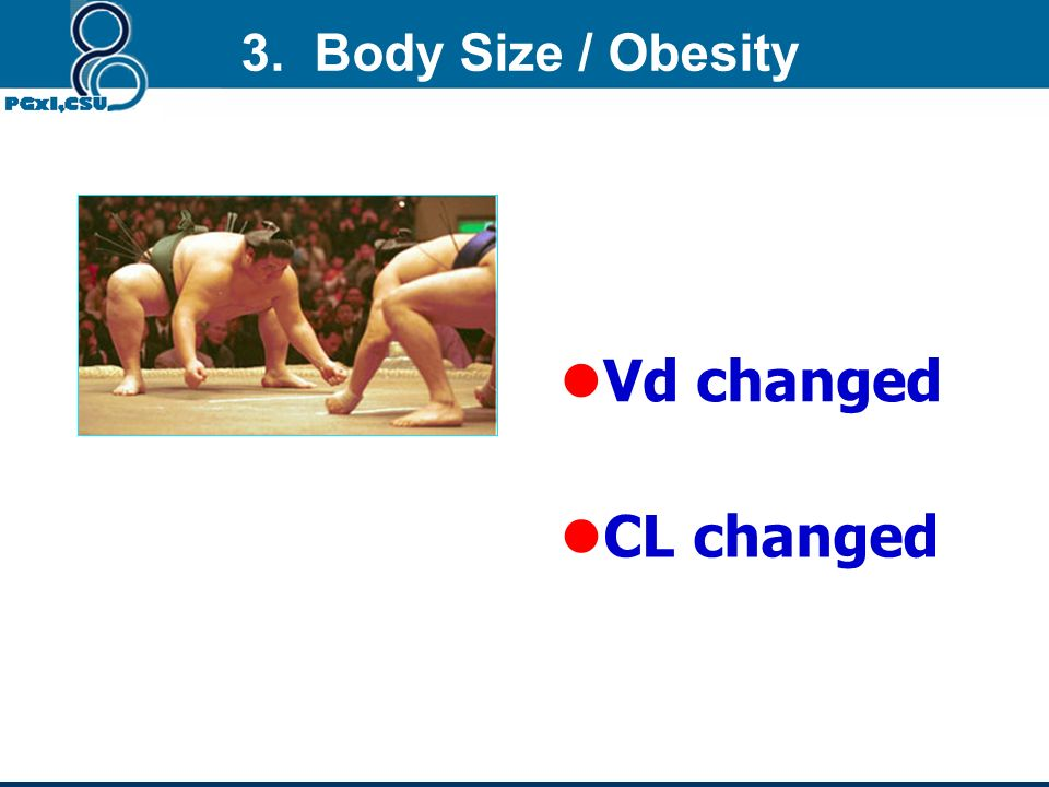 3. Body Size / Obesity Vd changed CL changed