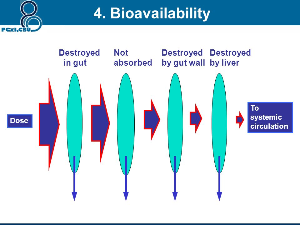 4. Bioavailability Destroyed in gut Not absorbed Destroyed by gut wall