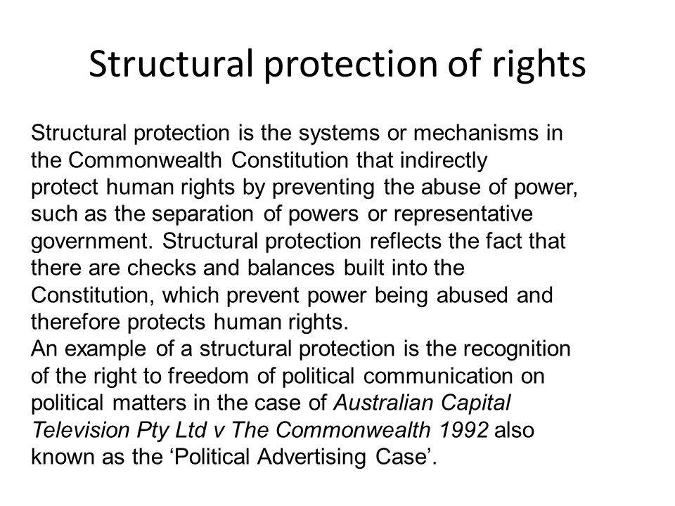 Structural protection of rights