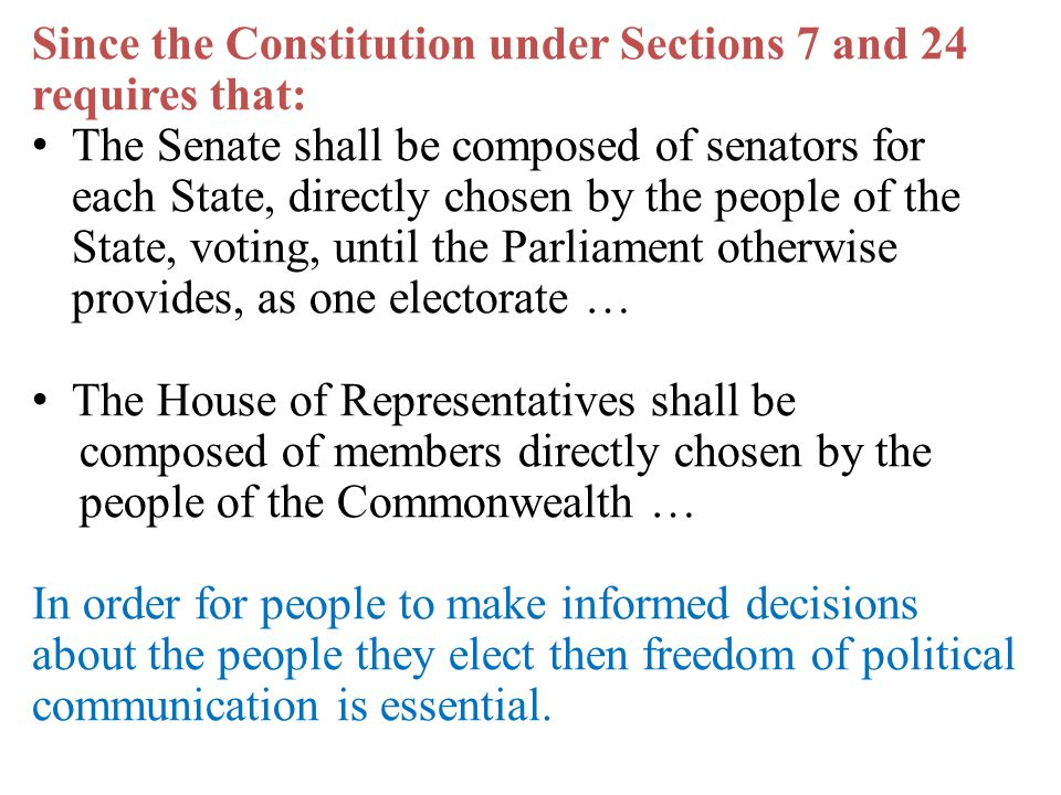 Since the Constitution under Sections 7 and 24 requires that: