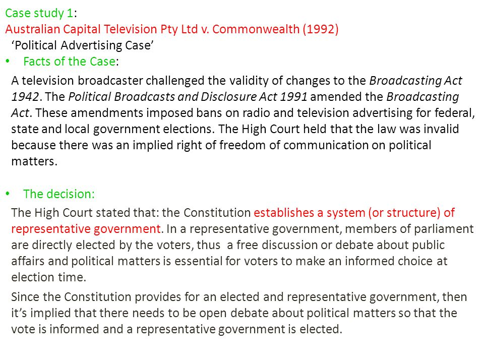 Case study 1: Australian Capital Television Pty Ltd v. Commonwealth (1992) 'Political Advertising Case'