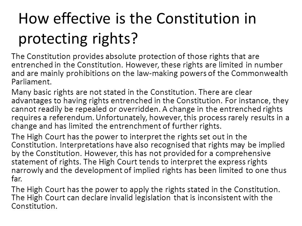 How effective is the Constitution in protecting rights