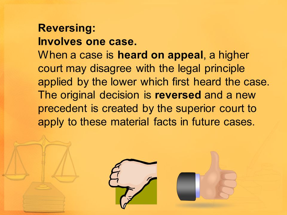 Reversing: Involves one case.