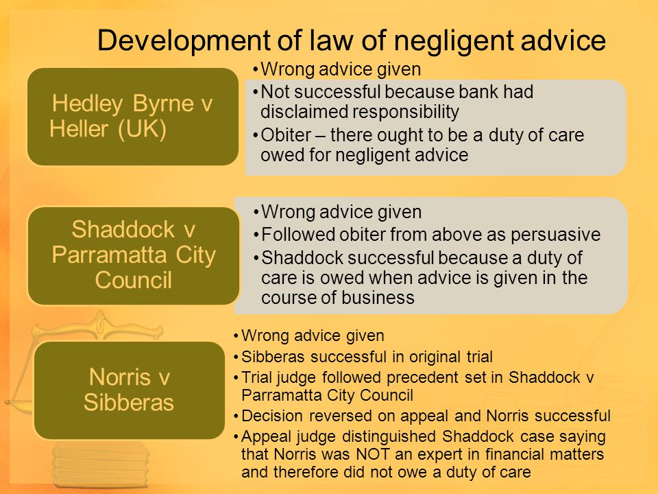 Development of law of negligent advice