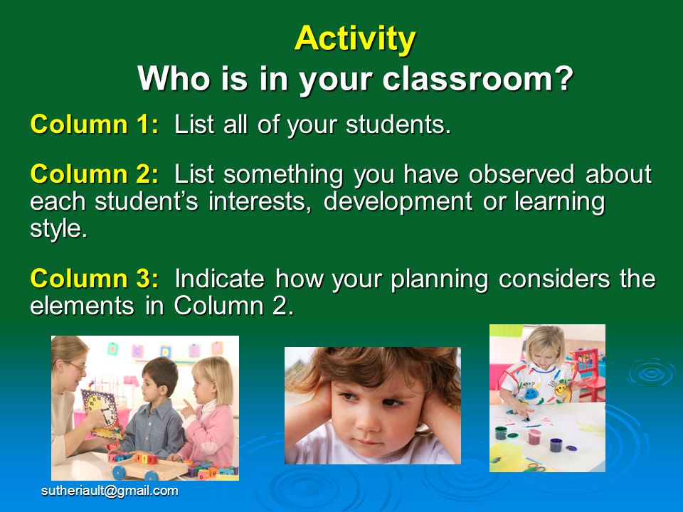 Activity Who is in your classroom