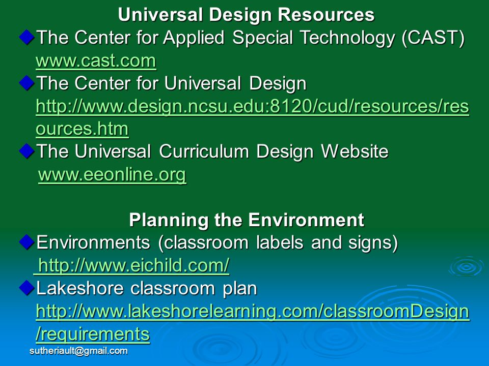 Universal Design Resources Planning the Environment
