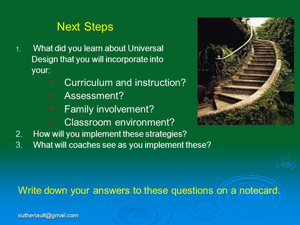 Next Steps Curriculum and instruction Assessment Family involvement