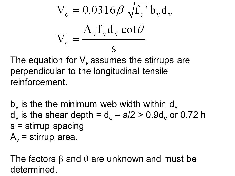 The equation for Vs assumes the stirrups are perpendicular to the longitudinal tensile reinforcement.