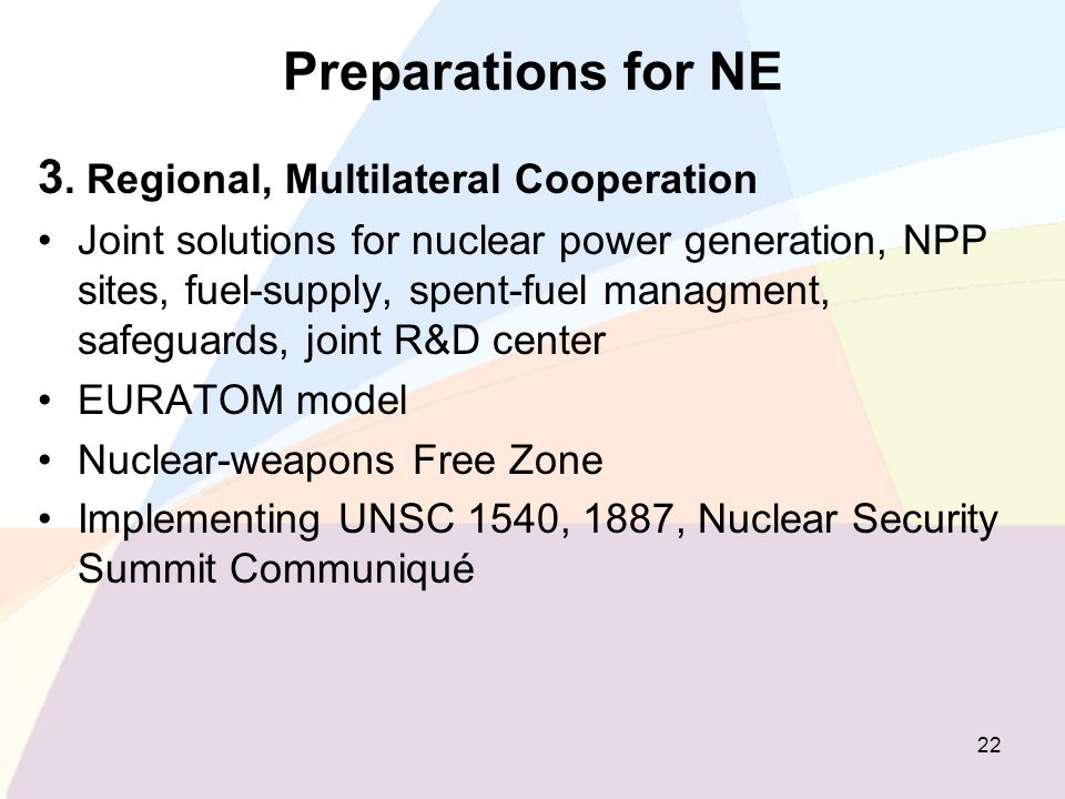 Preparations for NE 3. Regional, Multilateral Cooperation