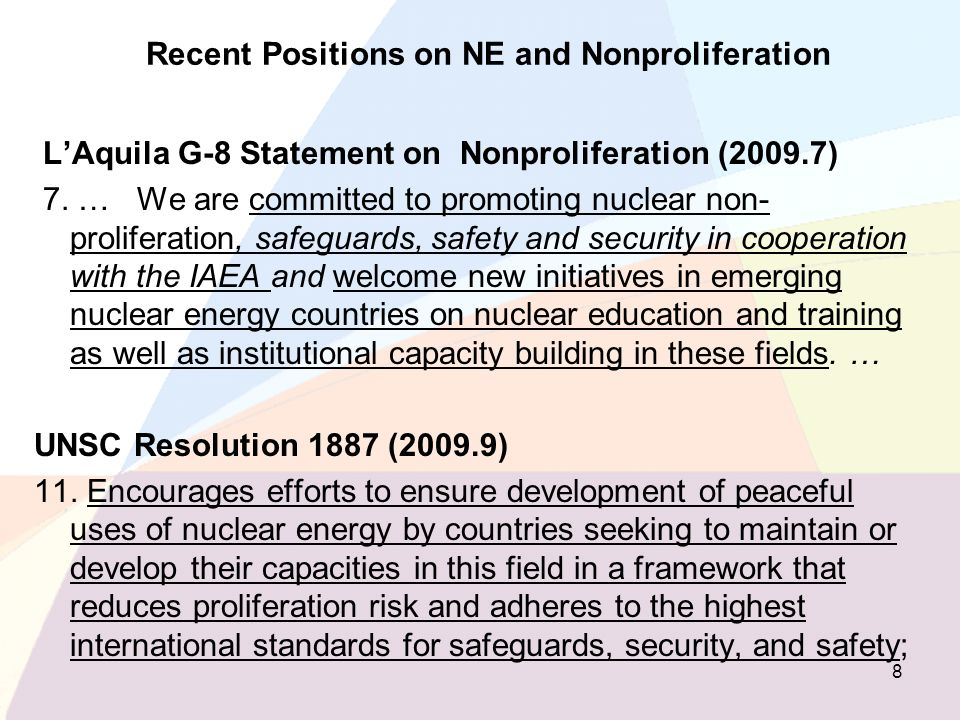 Recent Positions on NE and Nonproliferation
