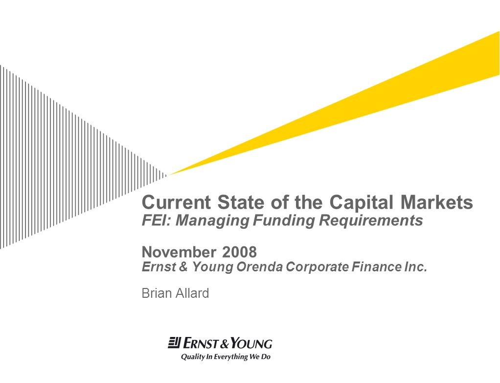 Current State of the Capital Markets FEI: Managing Funding Requirements November 2008 Ernst & Young Orenda Corporate Finance Inc.