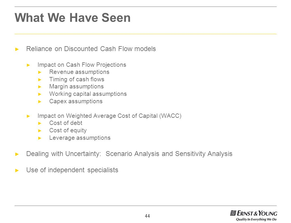 What We Have Seen Reliance on Discounted Cash Flow models