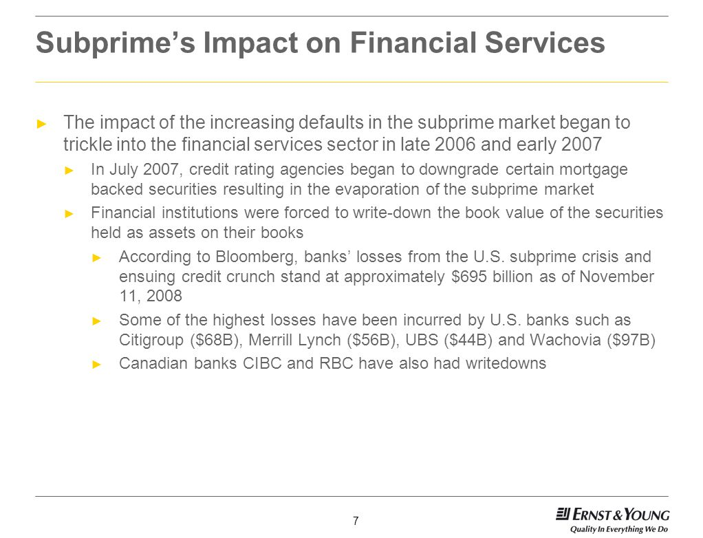 Subprime's Impact on Financial Services