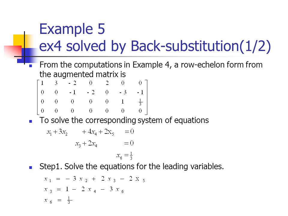 Example 5 ex4 solved by Back-substitution(1/2)