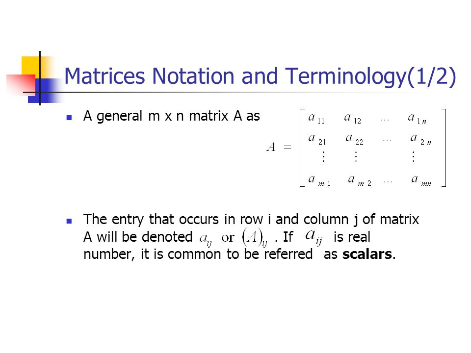 Matrices Notation and Terminology(1/2)