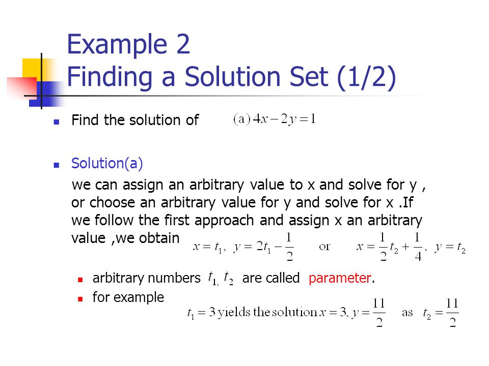 Example 2 Finding a Solution Set (1/2)