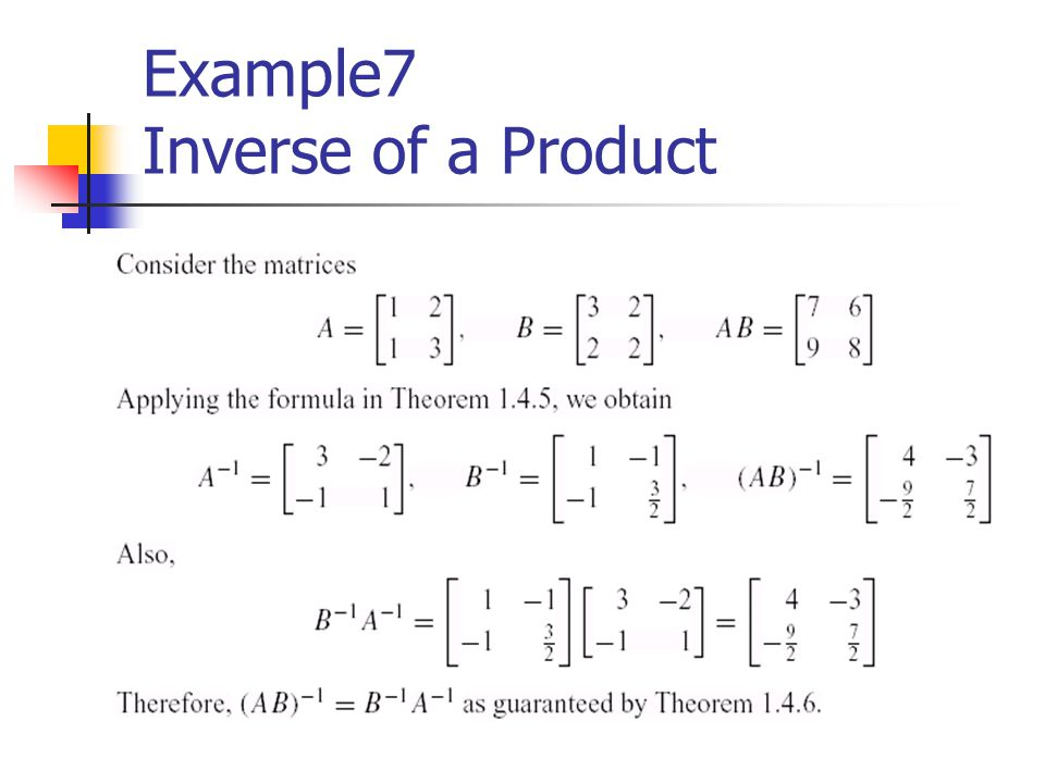 Example7 Inverse of a Product