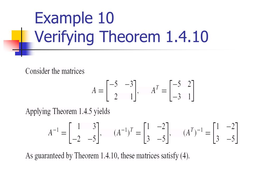 Example 10 Verifying Theorem
