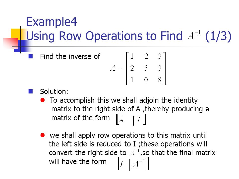Example4 Using Row Operations to Find (1/3)