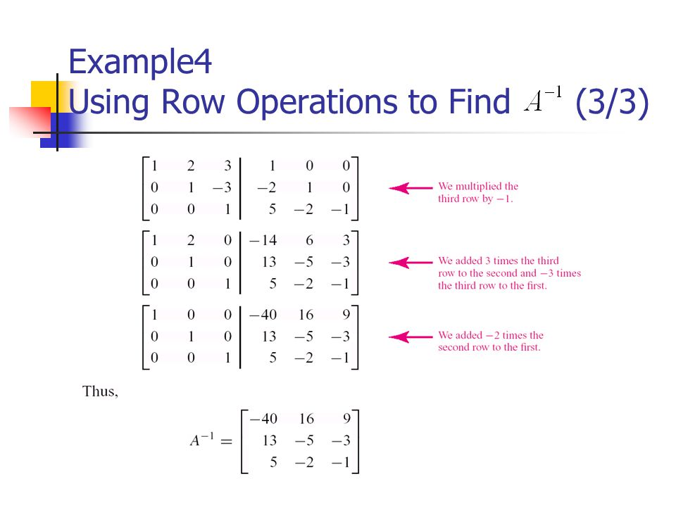 Example4 Using Row Operations to Find (3/3)