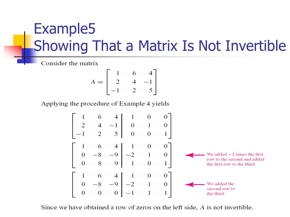 Example5 Showing That a Matrix Is Not Invertible