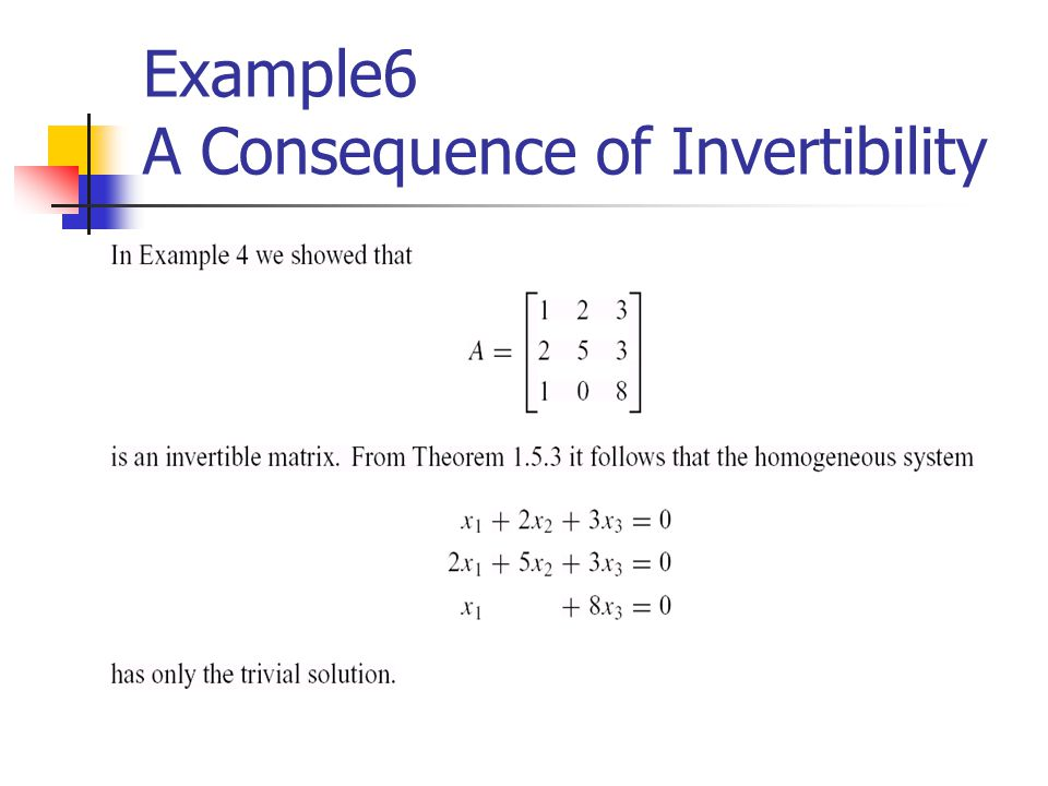 Example6 A Consequence of Invertibility