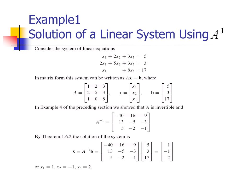 Example1 Solution of a Linear System Using