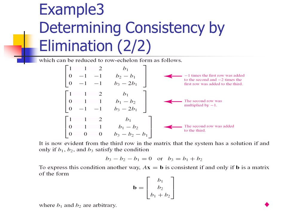 Example3 Determining Consistency by Elimination (2/2)