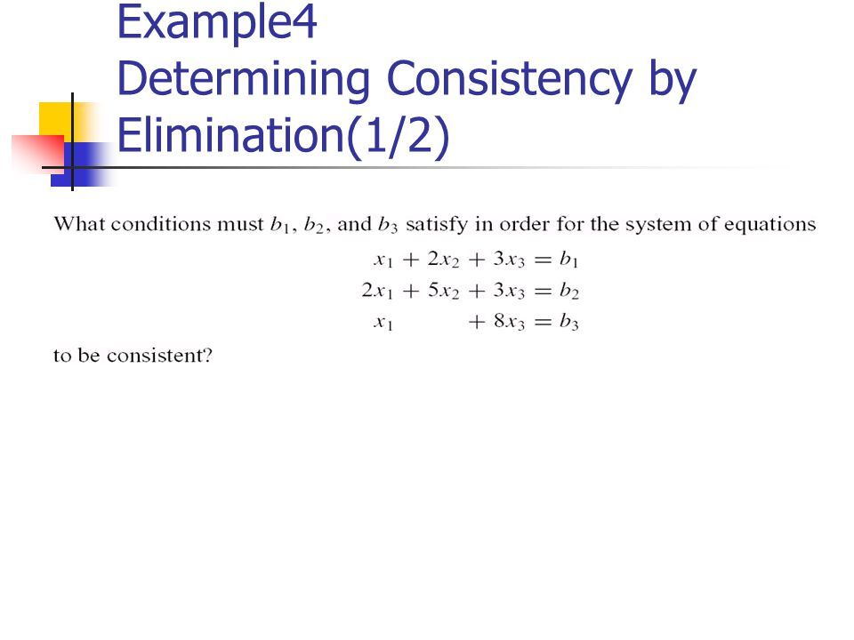 Example4 Determining Consistency by Elimination(1/2)