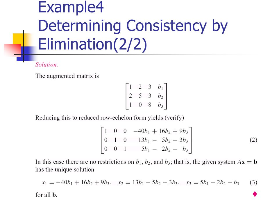 Example4 Determining Consistency by Elimination(2/2)