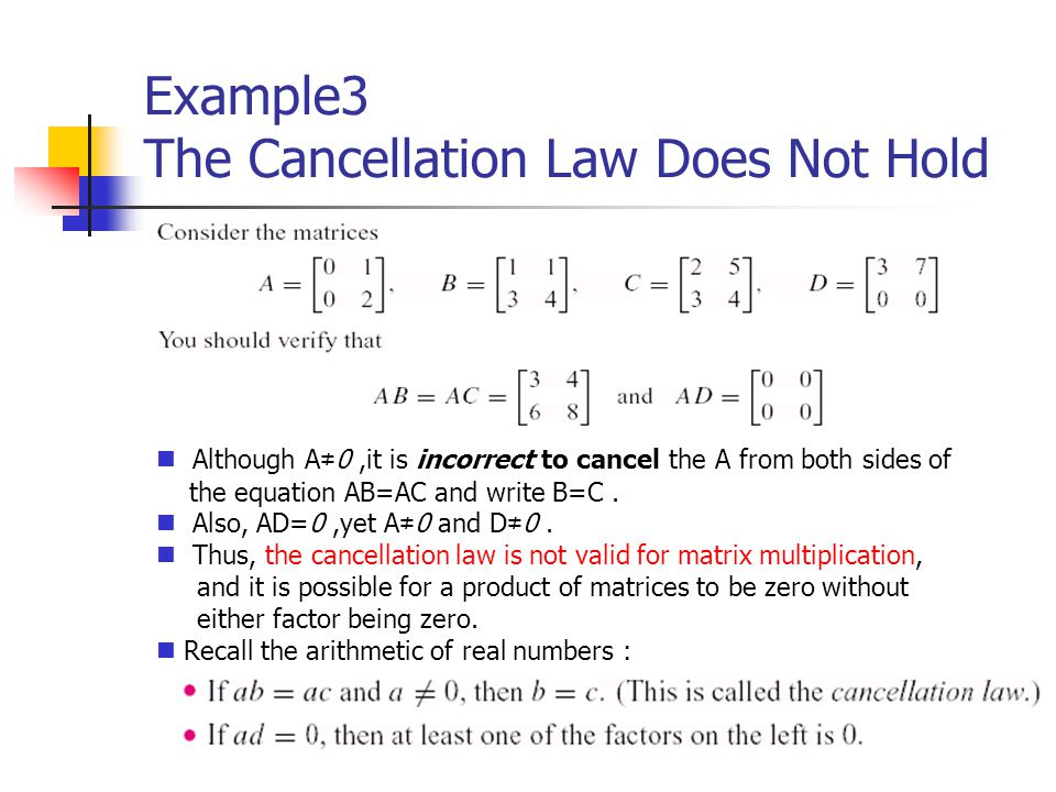 Example3 The Cancellation Law Does Not Hold