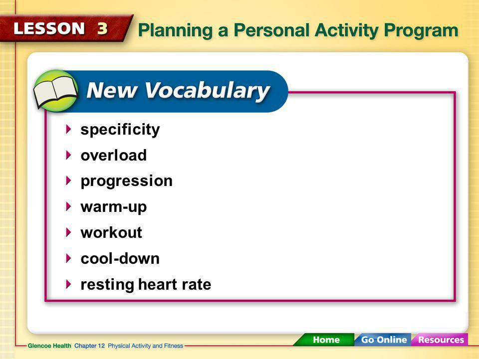specificity overload progression warm-up workout cool-down resting heart rate