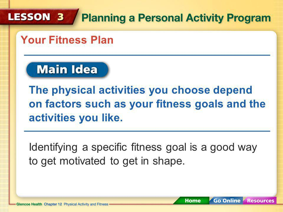 Your Fitness Plan The physical activities you choose depend on factors such as your fitness goals and the activities you like.