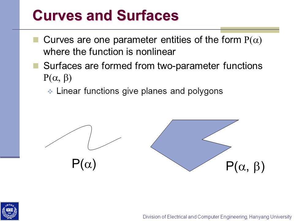 Curves and Surfaces P(a) P(a, b)