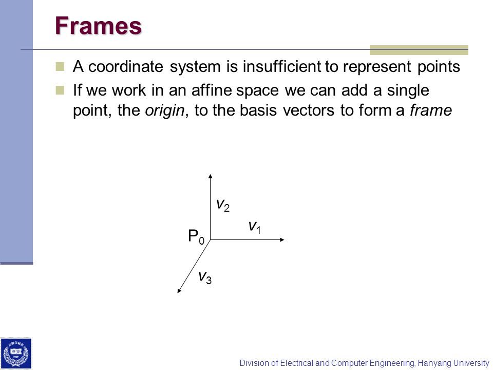 Frames A coordinate system is insufficient to represent points