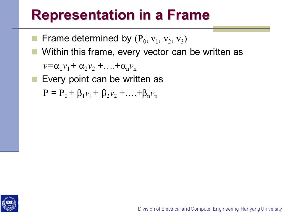 Representation in a Frame