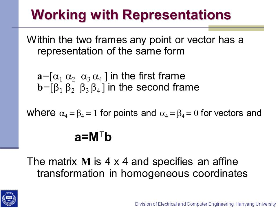 Working with Representations