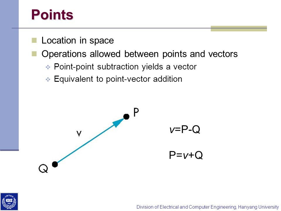 Points v=P-Q P=v+Q Location in space